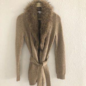 Chico's Fur Collar long Sleeve Wrap Sweater